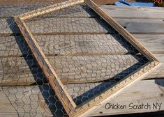 Turn a wooden frame into a charming display for photos, jewelry or ornaments using chicken wire