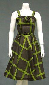 Striking Chocolate & Lime 1950's Sun Dress