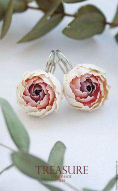 Серьги ручной работы. Ярмарка Мастеров - ручная работа. Купить Серьги с пионами , серьги с цветами, цветочные серьги, серый, розовый. Handmade.