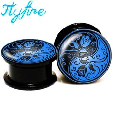 Find More Body Jewelry Information about WHOLESALE 10 PAIR yin yang roses blue and black Screw Fit Acrylic Ear Gauges Plugs And Flesh Tunnels Ear Stretching Expander,6MM,High Quality gauge plug,China ear gauges plugs Suppliers, Cheap plugs wholesale from DreamFire Store on Aliexpress.com