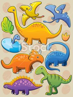 Dinosaurs Collection Royalty Free Stock Vector Art Illustration