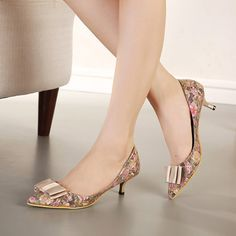 Feminine Lady Pumps Shoes Bowknot Gridding Lace Design Ladies Kitten Heel Pointed-toe Mid Heel