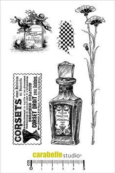 Tampons A6 - Parfum, Corset, fleur - Art Stamp - Carabelle Studio