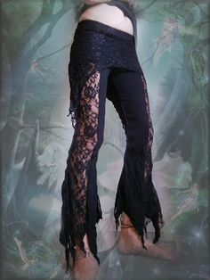 Black Lace psy trance festival yoga tights pixie pants