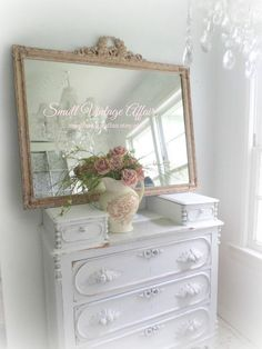 F E M I N I N E  Pink Mirror Antique Wide by smallVintageAffair, $598.00