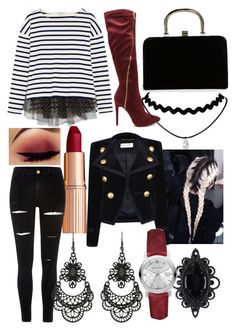 """""""Untitled #1269"""" by hannahgage1 on Polyvore featuring J.Crew, Boohoo, Dsquared2, Yves Saint Laurent, River Island, Burberry and Free Press"""