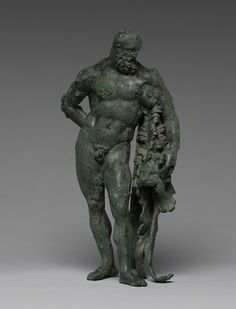 Statuette of Herakles; Unknown; Roman Empire; 40 - 70; Bronze with silver-inlaid eyes; 15.2 cm (6 in.); 96.AB.185; Gift of Barbara and Lawrence Fleischman