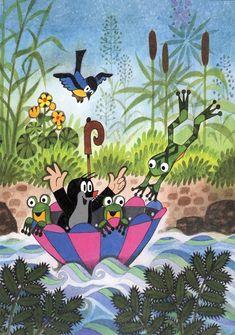 Postcard: The little mole and his friends swim with an umbrella Cartoon Kids, Cute Cartoon, La Petite Taupe, The Mole, Funny Frogs, Illustrator, Children's Book Illustration, Vintage Postcards, Childrens Books