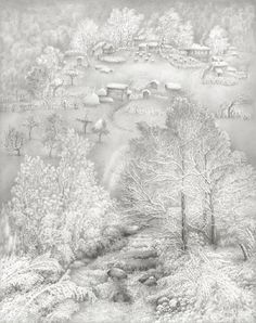 Winter Painting - Amazing Pencil Drawing by Guram Dolenjashvili ~ Blog of an Art Admirer