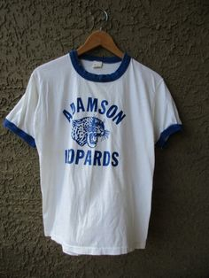 VTG Ringer T-Shirt Adamson Leopards White w/ Blue by GeekGirlRetro