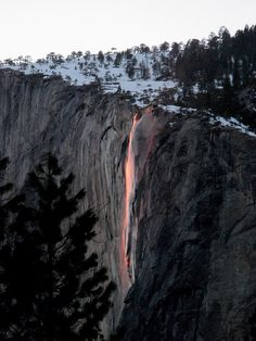 El Capitan  Spectacular sight as waterfall 'turns to lava'