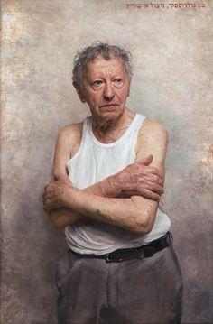 """Gallery Henoch - David Kassan, Portrait of Sam Goldofsky, Survivor of Auschwitz, Oil on Aluminum, 41"""" x 27"""""""