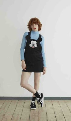 This Lazy Oaf Collection Features All Your Disney Faves | Mickey Mouse overalls jumper | 90s inspired fashion | [ http://di.sn/600588osJ ]