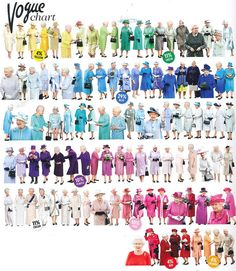 In honor of the Diamond Jubilee Vogues'  Color-chart of the Queen's Wardrobe
