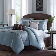 Madison Park Brussel Cal King Size Bed Comforter Set Bed in A Bag - Seafoam Aqua, Embroidered Patterns – 7 Pieces Bedding Sets – Faux Silk Bedroom Comforters Queen Size Comforter Sets, Bedding Sets, Brown Comforter, Queen Bedding, Blue Bedding, Bedroom Comforters, Blue Bedspread, Blue Duvet, Bed Sets