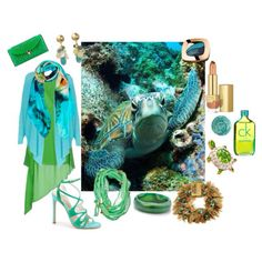 The endangered Sea Turtle and the waters it lives in transposed into fashion