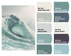 Paint colors from Chip It! by Sherwin-Williams Teal stencil* Beach House Colors, Coastal Paint Colors, Beach Color, Exterior Paint Colors, Paint Colors For Home, Beach House Decor, Coastal Color Palettes, Office Paint Colors, Bedroom Paint Colors
