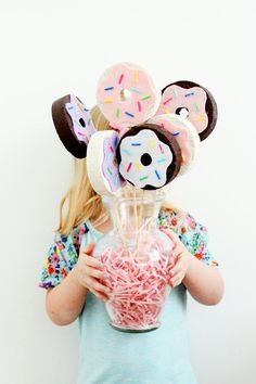 DIY Donut Bouquet, an easy craft perfect for National Donut Day, a brunch party or a just a table centerpiece! And a great mother daughter craft if you get in the mood!