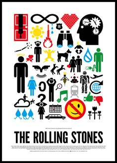 Diseños de posters de rock hechos con pictogramas