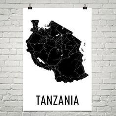 Tanzania Wall Map Print - Modern Map Art