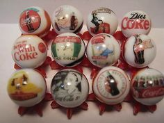 COCA COLA SODA POP GLASS MARBLES 5/8 SIZE COLLECTION LOT & STANDS