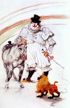 Henri de Toulouse-Lautrec, 1899, 'At the circus, horse and monkey dressage'.