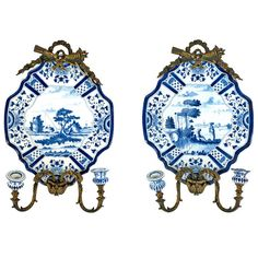 Pair of Delft, Blue and White Wall Sconces | From a unique collection of antique and modern wall lights and sconces at https://www.1stdibs.com/furniture/lighting/sconces-wall-lights/