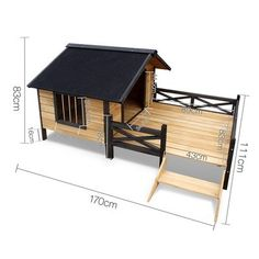 Timber Dog House with Deck - Black Timber Dog House with Deck - Black Dog House with Deck Featuring an asphalt felt roof, it insulates your pup from the heat during summer and against the rain in winter. It is raised on small legs<br> Insulated Dog House, Large Dog House, Dog House Plans, Cool Dog Houses, Wood Dog, Dog Rooms, Outdoor Dog, Animal House, Dog Supplies
