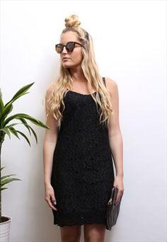 Vintage '80s Black Lace Cami Dress