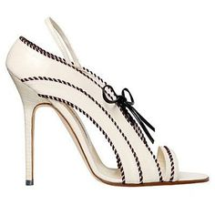 Manolo Blahnik White Sandal with Black Bow Spring Summer 2012 #Manolos #Shoes