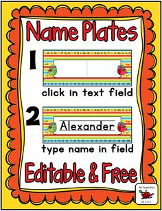 FREE Editable Name Plates - These stylish name plates are great for the primary classroom or homeschool. Grab this freebie for your preschool, Kindergarten, or grade students to use during the Back to School season as they master their names. Classroom Labels, Classroom Organisation, School Organization, Classroom Themes, Classroom Management, Beginning Of The School Year, First Day Of School, Back To School, School Stuff