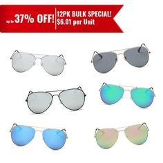 652105cae12c5 BUY BULK WHOLESALE Assorted Sunglasses for Men or Women. Each Dozen Glasses  (12 Pairs) includes Any 6 Assorted Colors