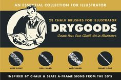 DryGoods | Chalk Brushes for AI by RetroSupply Co. on @creativemarket