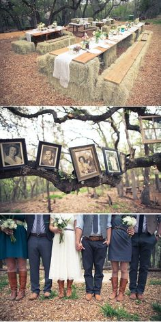 Hay bale reception table. Vintage pictures. Cowboy boots. I love EVERYTHING about this. by april