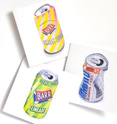 NEW Scottish Fizzy Drink Note Cards for Any Occasion - Set of 3, Irn Bru, American Cream Soda, Limeade