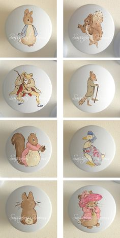 Peter Rabbit Custom Hand Painted Knobs @Dana Curtis Curtis Curtis Newton    Rabbits remind me of Jacob.