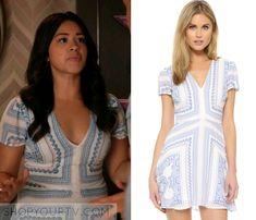 Jane the Virgin: Season 2 Episode 21 Jane's Blue Print Flared Dress