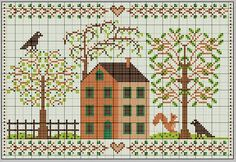 Cottage en Automne (Cottage in Autumn). Free sewing pattern graph for cross stitch.