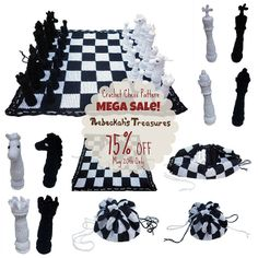 Ravelry: Crochet Chess Set pattern by Rebeckah Ferger 75% off - May 20th 2014 ONLY     ♪ ♪ ... #inspiration #crochet  #knit #diy GB  http://www.pinterest.com/gigibrazil/boards/