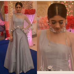 Nayra - Shivangi Joshi In Grey Lehenga Indian Designer Outfits, Indian Outfits, Designer Dresses, Ethnic Outfits, Stylish Dresses, Fashion Dresses, Lehenga Designs, Lengha Design, Indian Gowns