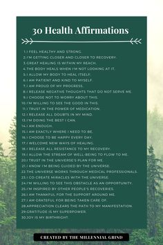 30 Health Affirmations
