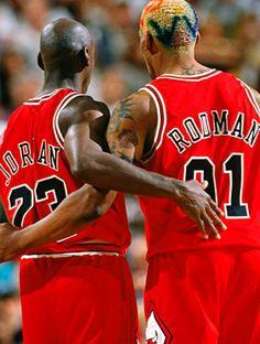 Jordan & Rodman <3 90s Chicago Bulls #basketball #legends