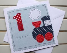 1st Birthday Card - Handmade - Machine Embroidered - Train - Personalised Insert - 1 Today