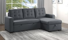 """Homelegance 9314CC-SC 2 pc Cornish Charcoal textured fabric sectional sofa reversible storage chaise and pop up sleep area. This set features a textured fabric with lift up reversible storage chaise and pop up sleep area under the loveseat. Sectional measures 87"""" x 61"""" x 35"""" D x 38"""" H. Some assembly required."""