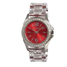Jet Set of Sweden Candy Red Dial Clear Plastic Ladies Watch ($150) ❤ liked on Polyvore