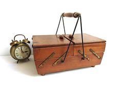 Vintage Accordion Sewing Box Handle Legs Cabinet Wood Basket