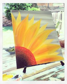 Sunflower painting on canvas! Mobile Paint party- www.CraftedBuzz.com