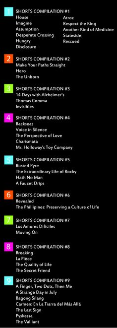 Official list of short films that will be shown at Life Fest! #prolife #filmfestival #filmmaking #screenings