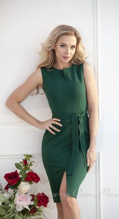 """Elegant sheath dress """"Adelaide"""" for every day by Olesya Masyutina. with a slit, belt included. Stitched from dense viscose jersey, pleasant to the skin. 900 models of women knitted and fabric dresses and suits for every day, evening and wedding"""