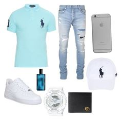 A menswear look from July 2016 featuring long sleeve men's polo, mens slim jeans and gucci mens wallet. Browse and shop related looks. Teen Swag Outfits, Dope Outfits For Guys, Stylish Mens Outfits, Men's Outfits, Teenage Boy Fashion, Boys Fall Fashion, Girls Fashion Clothes, Men's Fashion, Mode Man